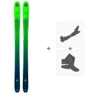 Ski Blizzard Zero G 95 Flat Green/Blue 2021 + Fixations de ski randonnée + Peaux